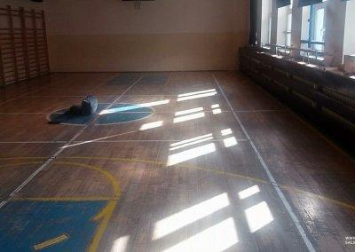 Przed cyklinowaniem. Mała sala gimnastyczna