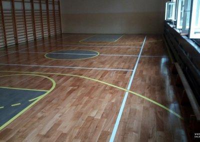 po renowacji -cyklinowanie sali gimnastycznej