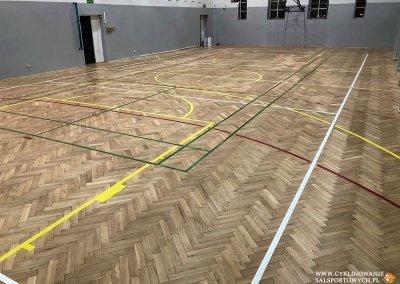 cyklinowanie sali gimnastycznej - lakierowanie Wiązów