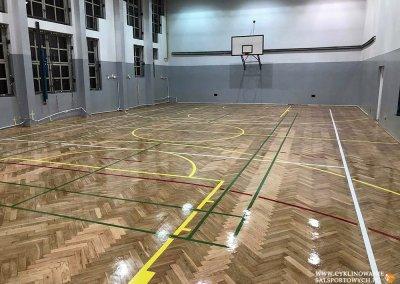 cyklinowanie sali - polakierowana mokra sala gimnastyczna