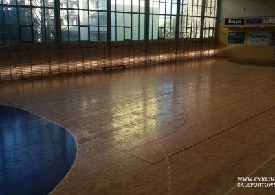 Przed cyklinowaniem podłogi w hali sportowej