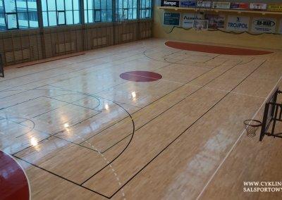 dosychająca ostatnia warstwa lakieru na podłodze sportowej